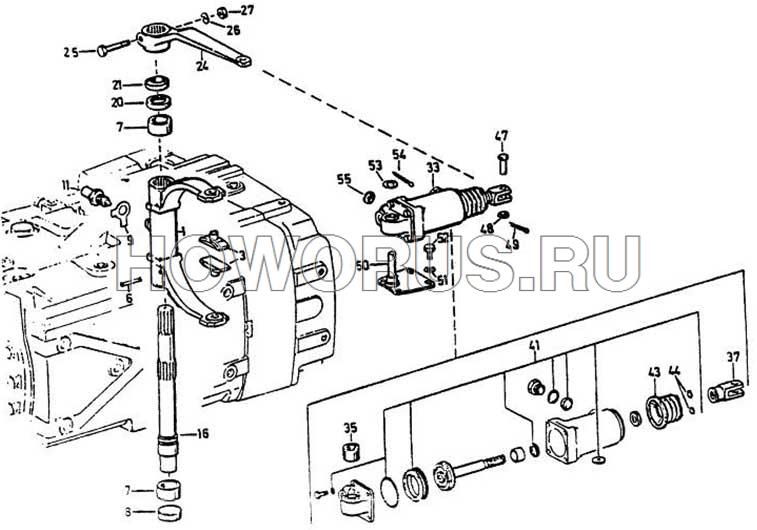 механизм переключения вспомогательной коробки передач ZF