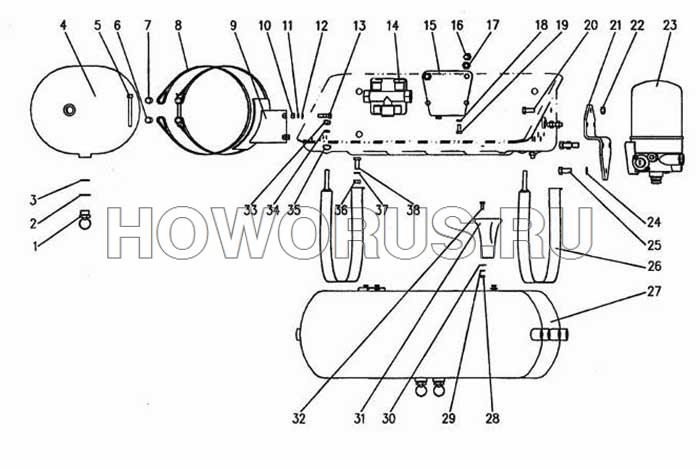 Крепление ресивера бортового автомобиля HOWO