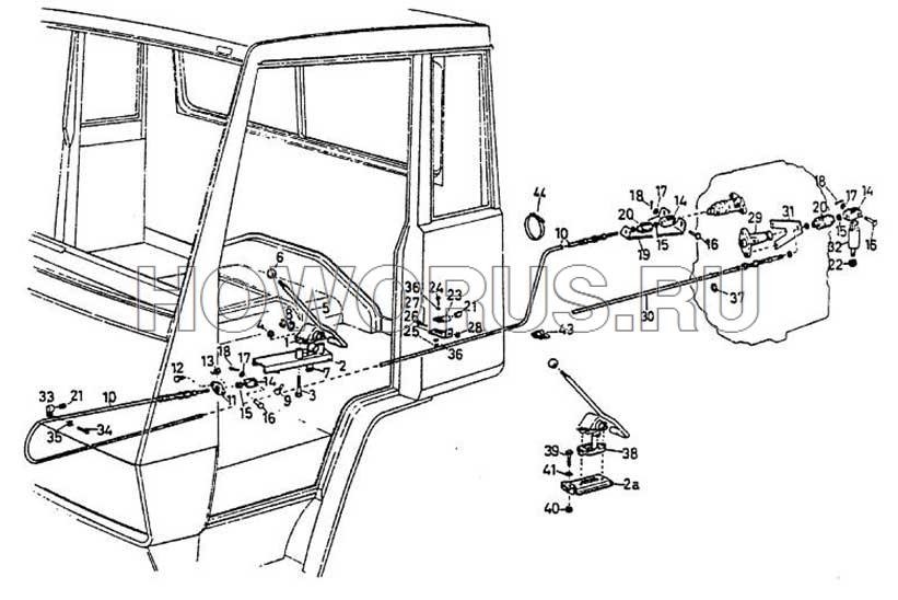 Механизм переключения передач раздаточной коробки HOWO