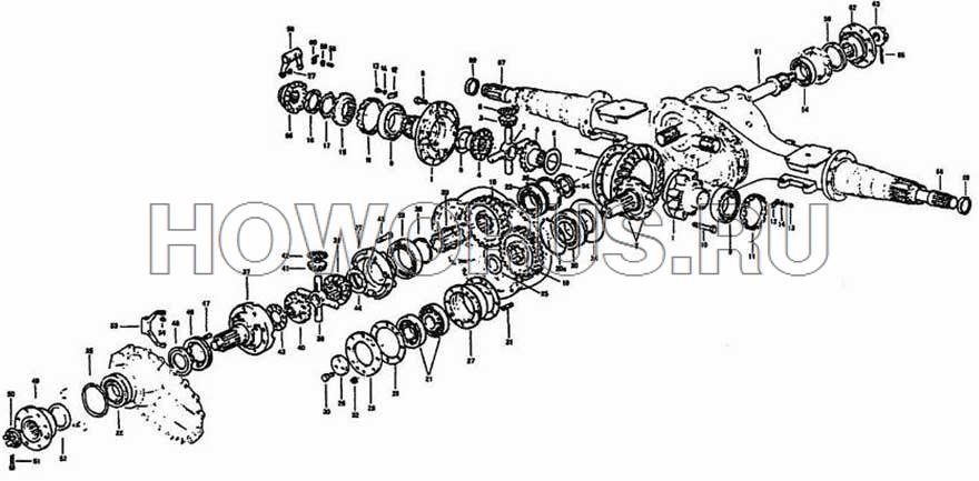 Механизм привода среднего моста STEYR