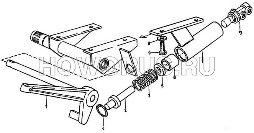 Механизм управления сцеплением и тормозом КПП FULLER