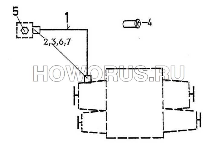 Пневматическая система переключения передач раздатки HOWO