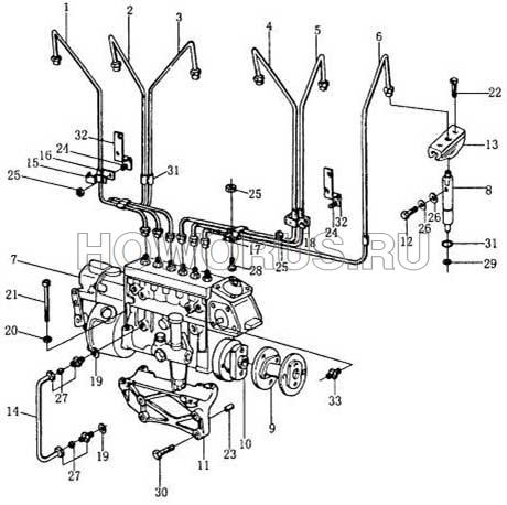 Топливный насос и шланги высокого давления wd615