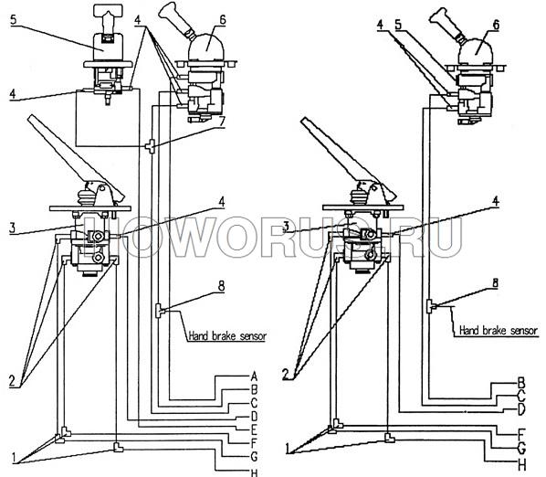 Устройство привода стояночного тормоза HOWO