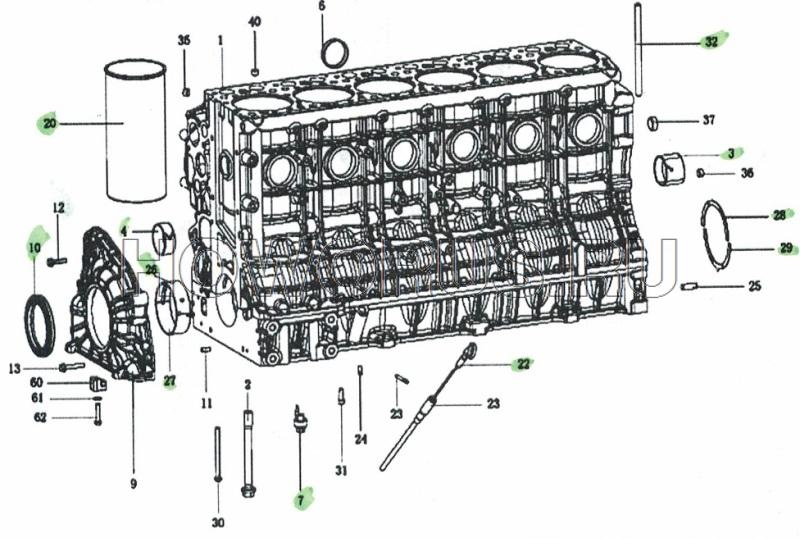 Блок цилиндров 1 SHACMAN wp12