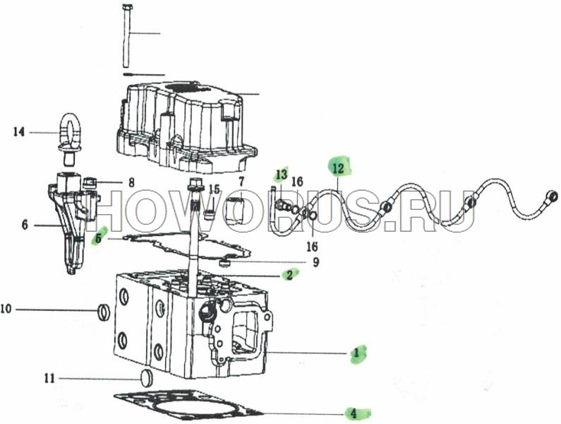 Головка цилиндра WP12 SHACMAN