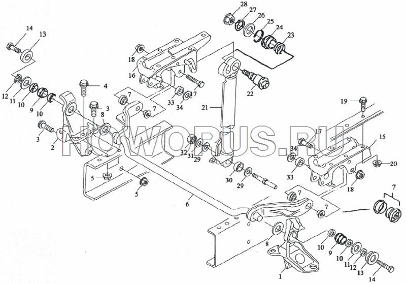 Механизм подъёма кабины SHACMAN